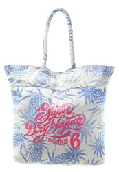 Superdry Tote Bag Off White Royal Blue
