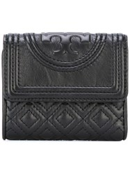 Tory Burch Logo Embossed Flap Wallet Black