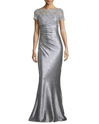 David Meister Short Sleeve Sequined And Metallic Column Gown Silver