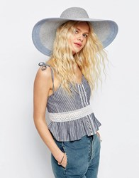 Asos Straw Oversized Metallic Silver Floppy Hat With Colour Block Brim Silver