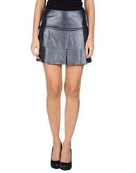 Edun Leather Skirts Dark Blue