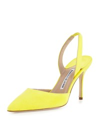 Manolo Blahnik Carolyne Gala High Heel Suede Halter Pump Yellow Women's