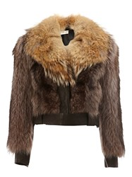 Faith Connexion Raccoon And Coyote Fur Jacket Brown