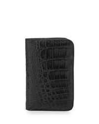 Santiago Gonzalez Crocodile Fold Over Card Case Black