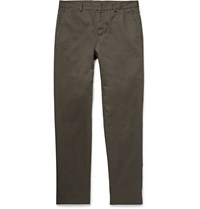 Maison Martin Margiela Slim Fit Cotton And Linen Blend Twill Chinos Gray