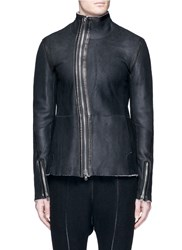 The Viridi Anne Fleece Lined Mutton Leather Jacket Black
