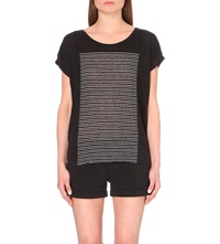 Paige Elodie Striped Linen Jersey T Shirt Black White
