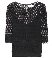 Velvet Ailley Macrame Lace Blouse Black