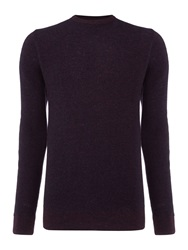 Criminal Textured Crew Neck Pull Over Jumpers Burgundy