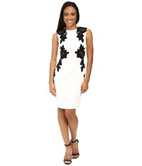 Tahari By Arthur S. Levine Petite Contrast Floral Velvet Applique Sheath Ivory Black Women's Dress Multi