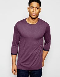 Asos Longline 3 4 Sleeve T Shirt In 2 Tone Jersey Red