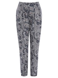 Oasis Paisley Print Trousers Mid Grey