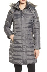 Sam Edelman Women's Faux Fur Trim Down And Feather Fill Puffer Coat Charcoal