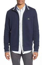 Men's Lacoste Pique Jersey Full Zip Track Jacket Navy Blue