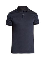 Ermenegildo Zegna Diamond Print Short Sleeved Cotton Polo Shirt Navy