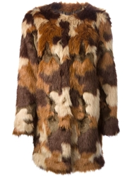 Michael Michael Kors Camouflage Panel Coat Brown