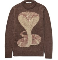 Givenchy Cobra Jacquard Knit Mohair Blend Sweater Brown
