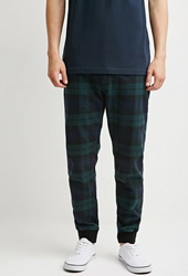 Forever 21 Plaid Flannel Joggers Green Navy