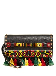 Valentino Rockstud Bead Embellished Leather Clutch Black Multi