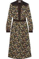 Tory Burch Promenade Floral Print Silk Twill Dress Black
