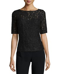 Carmen Marc Valvo Half Sleeve Bateau Neck Lace Top Black