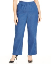 Alfred Dunner Plus Size Denim Pull On Straight Leg Pants