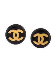 Chanel Vintage Oversized Logo Clip On Earrings Black