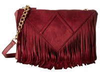 Steve Madden Bporter Fringe Crossbody Wine Cross Body Handbags Burgundy