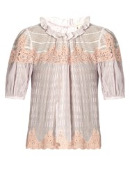 Rebecca Taylor Macrame Lace Panelled Silk Blouse Light Purple