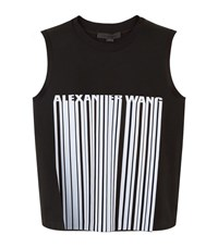 Alexander Wang Cropped Barcode Print Sleeveless Top Female Black