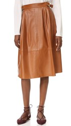 Derek Lam Buckled Leather Skirt Vicuna
