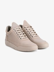 Filling Pieces Space Leather Low Top Sneakers Natural Olive Blue Denim