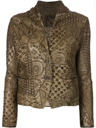 Giorgio Brato Laser Cut Leather Jacket Brown