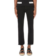 Off White C O Virgil Abloh Slim Fit Tapered Cropped Jeans Black