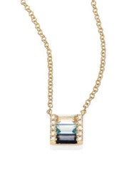 Ef Collection Brick Fade Diamond Blue Sapphire And 14K Yellow Gold Pendant Necklace