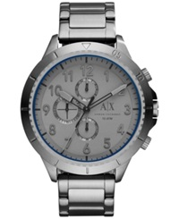 Ax Armani Exchange Men's Chronograph Gunmetal Ion Plated Stainless Steel Bracelet Watch 50Mm Ax1753