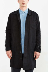 4 Pocket Long Linen Trench Coat Black