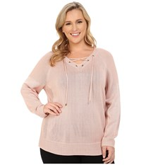 Calvin Klein Plus Plus Size Lace Up V Neck Sweater Blush Women's Sweater Pink