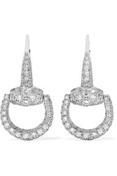 Gucci 18 Karat White Gold Diamond Horsebit Earrings