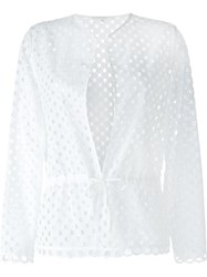 Carven Broderie Anglaise Tie Waist Top White
