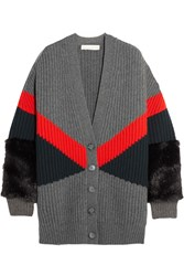 Stella Mccartney Oversized Faux Fur Paneled Ribbed Wool Cardigan Anthracite