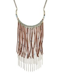 Macy's Silver Tone Beaded Multi Chain And Faux Suede Fringe Statement Necklace Gold