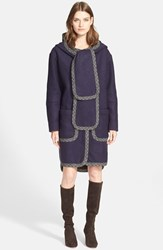 Women's See By Chloe Hooded Double Face Coat With Attached Scarf