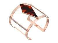 Guess Wide Open Cuff Faux Tortoise And Crystal Accents Bracelet Rose Gold Red Tortoise Bracelet