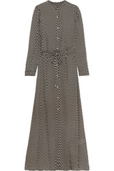 Michael Michael Kors Alston Polka Dot Silk Crepe Maxi Dress Army Green