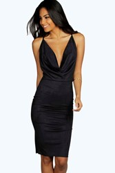 Boohoo Suedette Cowl Neck Midi Bodycon Dress Black