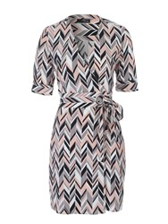 Jane Norman Geo Chevron Wrap Shirt Dress Multi Coloured
