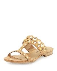 Neiman Marcus Emmery Studded Cork T Strap Sandal Natural