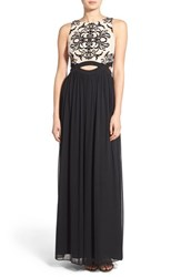 Junior Women's Blondie Nites Tattoo Lace Cutout Gown Black Nude