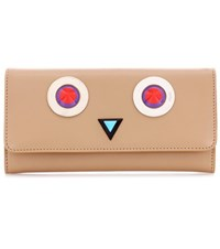 Fendi Embellished Leather Wallet Beige